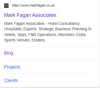 Screenshot of how Mark Fagan Associates search displays in Google